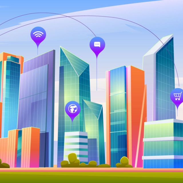 Smart city with wireless communication technology and Internet of things. Vector cartoon landscape with skyscrapers, green trees and infographic icons. Digital infrastructure in town